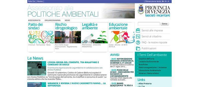 Sito dell'Assessorato alle politiche ambientali della Provincia di Venezia